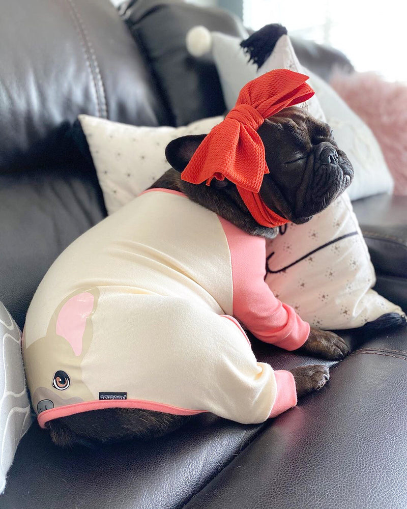 Pyjama Bouledogue Français en Corail | Vêtements Frenchie | Chien Frenchie fauve