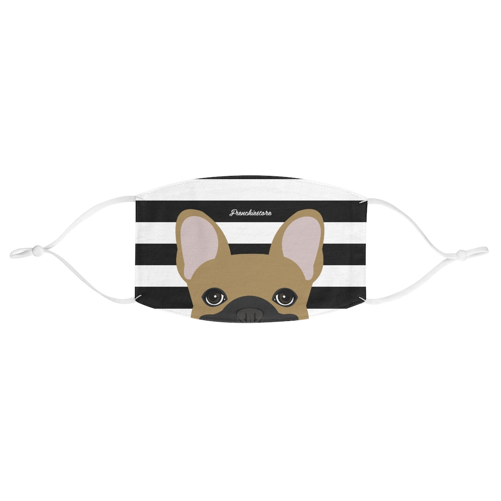 Masked Fawn Frenchie on Black Stripes Reusable Face Mask, Frenchie Dog, French Bulldog pet products