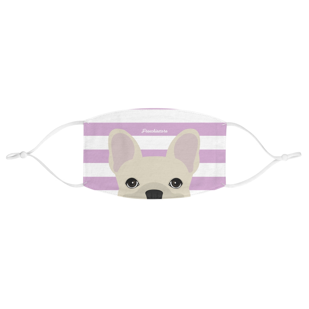 Cream Frenchie on Lavender Stripes Reusable Face Mask