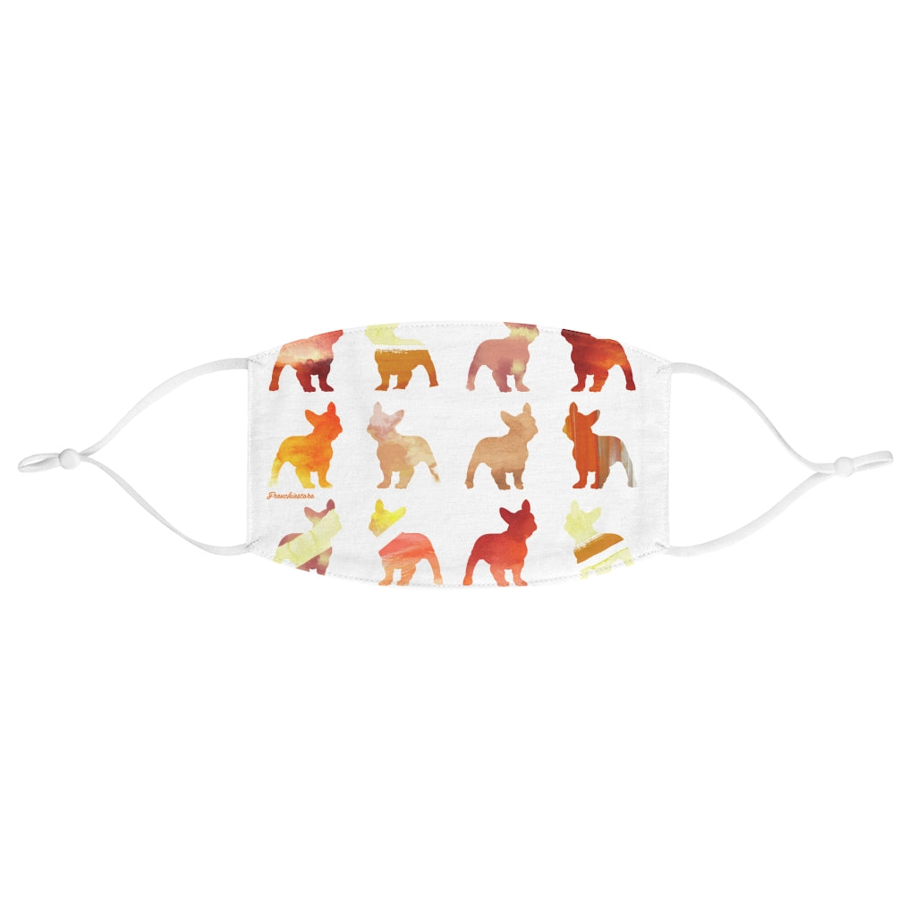 French Bulldogs in Fall Watercolors Reusable Face Mask