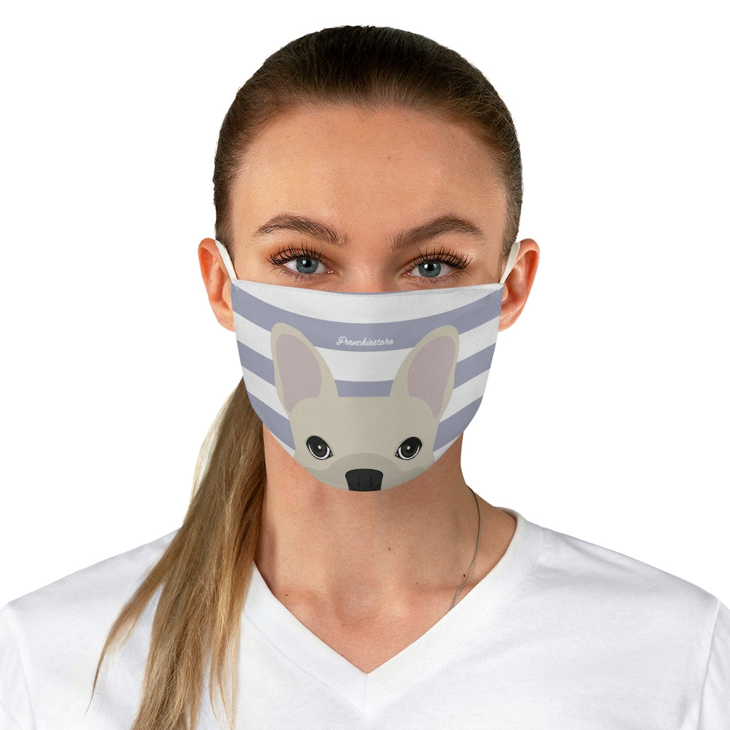 Cream Frenchie on Silver Stripes Reusable Face Mask