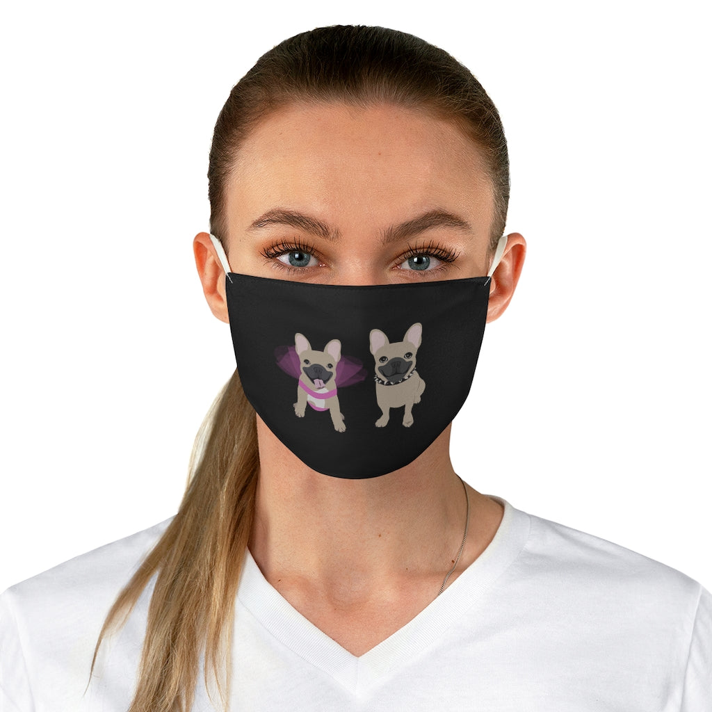 Blue Fawn French Bulldogs on Black Reusable Face Mask