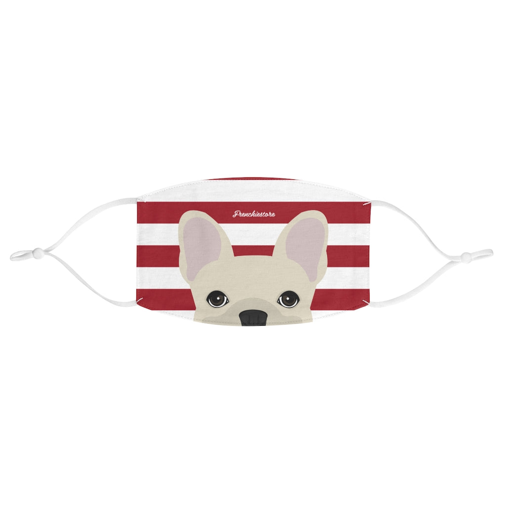 Cream Frenchie on Red Stripes Reusable Face Mask, Frenchie Dog, French Bulldog pet products