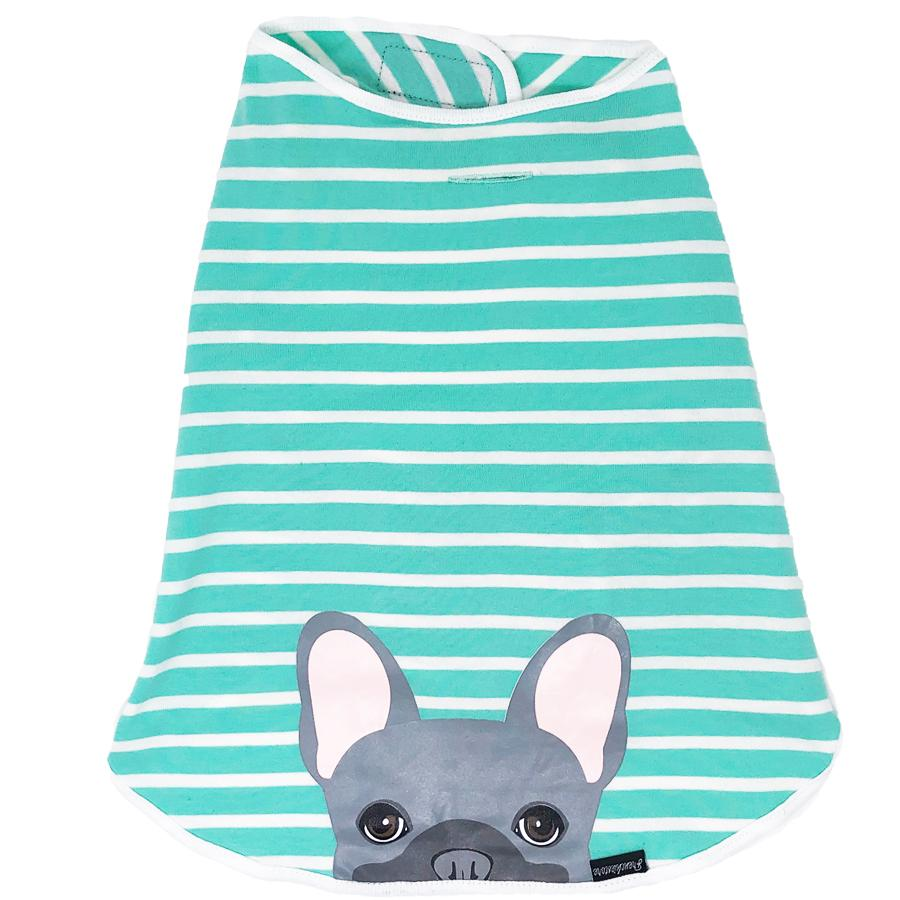 Frenchie Shirt | Frenchiestore | Blue French Bulldog in Aquamarine