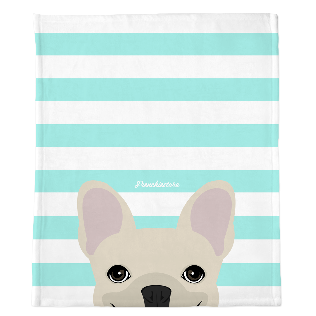 Cream French Bulldog on Aqua Stripes blanket