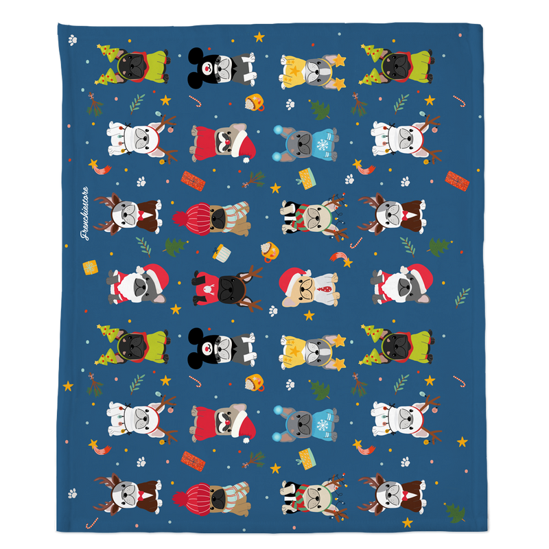 Festive Frenchie Christmas Blanket | Frenchiestore