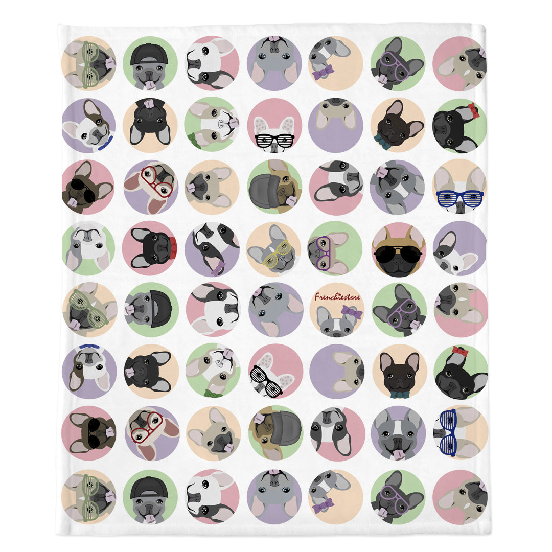 Frenchie Blanket | Frenchiestore | French Bulldogs White Polka Dots, Frenchie Dog, French Bulldog pet products