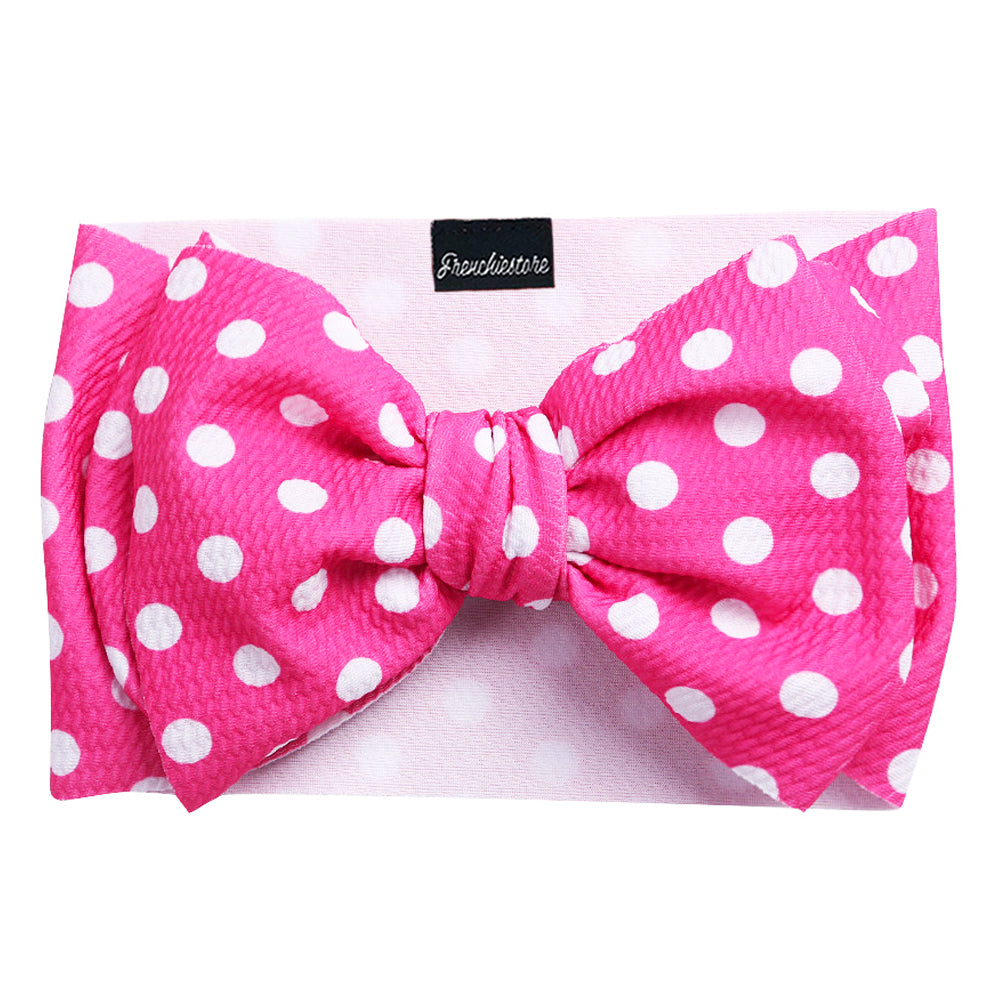 Frenchiestore Pet Head Bow | Pink Polka Dots