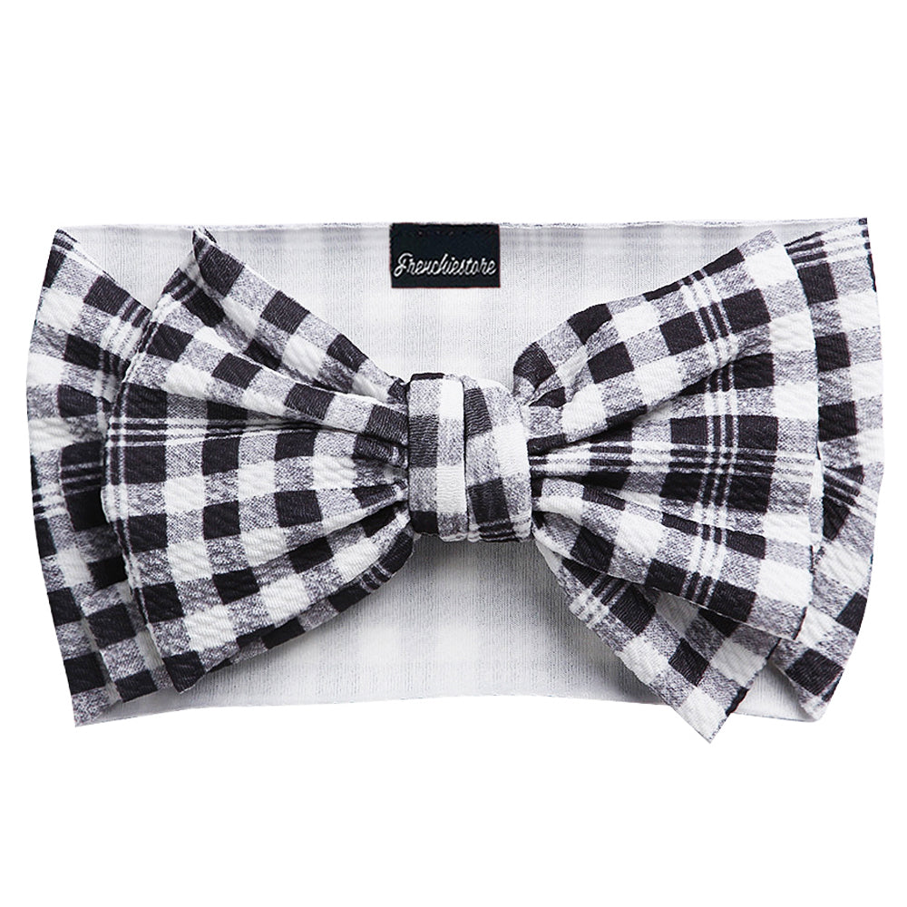Frenchiestore Pet Head Bow | Black and White Plaid