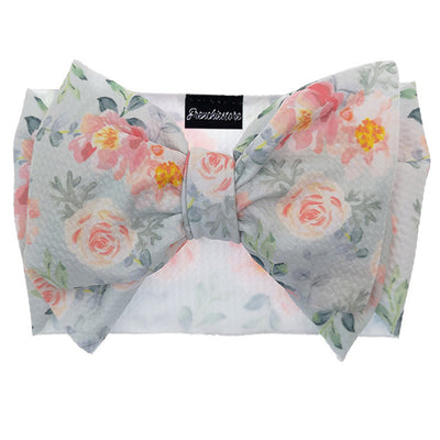 Frenchiestore Pet Head Bow | Pfirsichfarbenes Blumenmuster