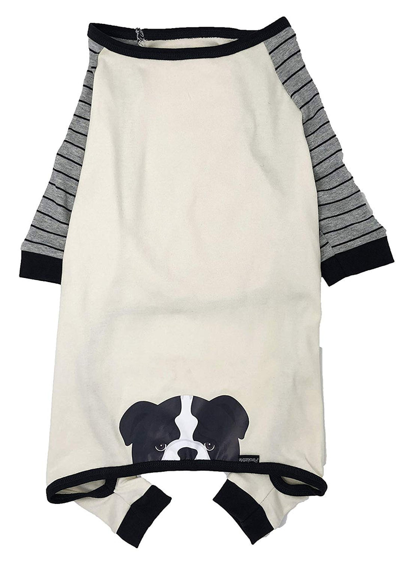 Frenchiestore Hypoallergenic Organic Dog Pajama | Black Pied English Bulldog PJ's