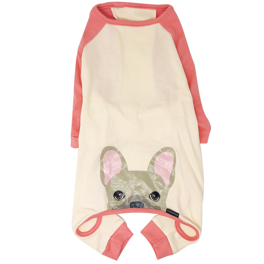 French Bulldog Pajamas in Coral | Frenchie Clothing | Fawn Frenchie dog