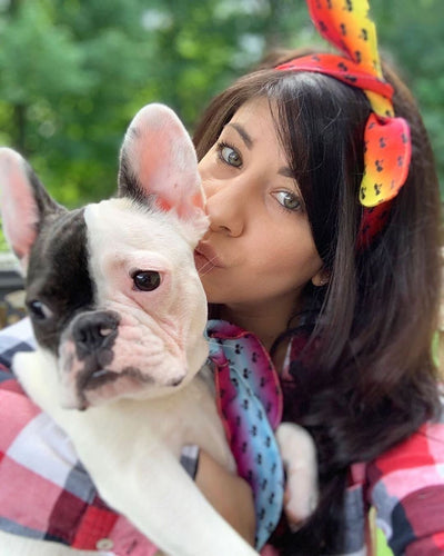Dog mom and Frenchie matching scarf