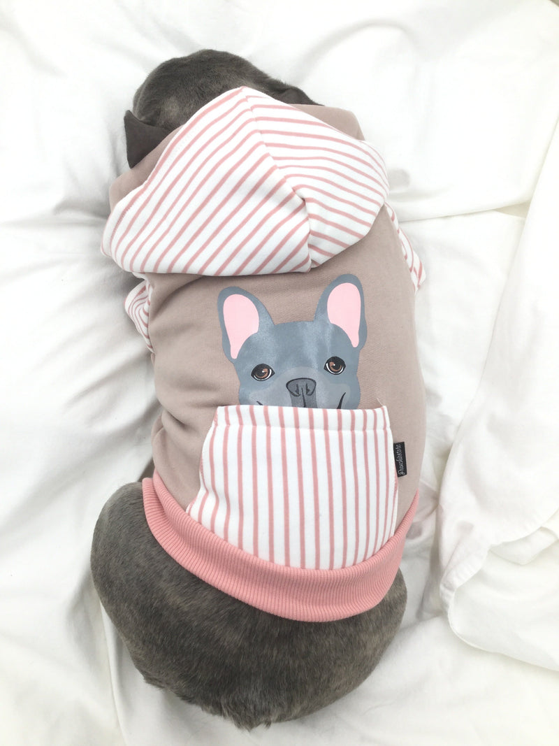 Sweat à capuche Bulldog français en rose | Vêtements Frenchie | Chien Frenchie bleu
