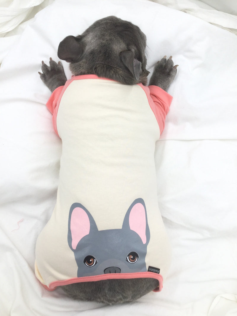Pyjama Bouledogue Français en Corail | Vêtements Frenchie | Chien Frenchie bleu