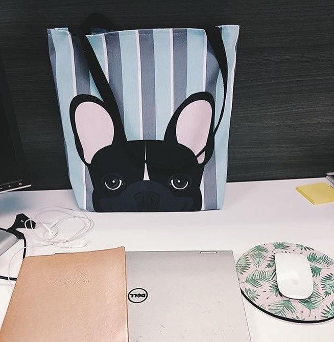 Black and White French Bulldog on Modern Stripes | Frenchiestore Tote bag