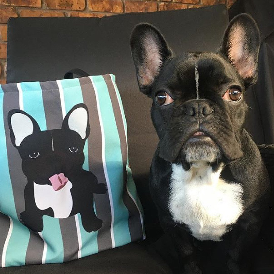 Black and White French Bulldog on Modern Stripes | Frenchiestore Tote bag, Frenchie Dog, French Bulldog pet products
