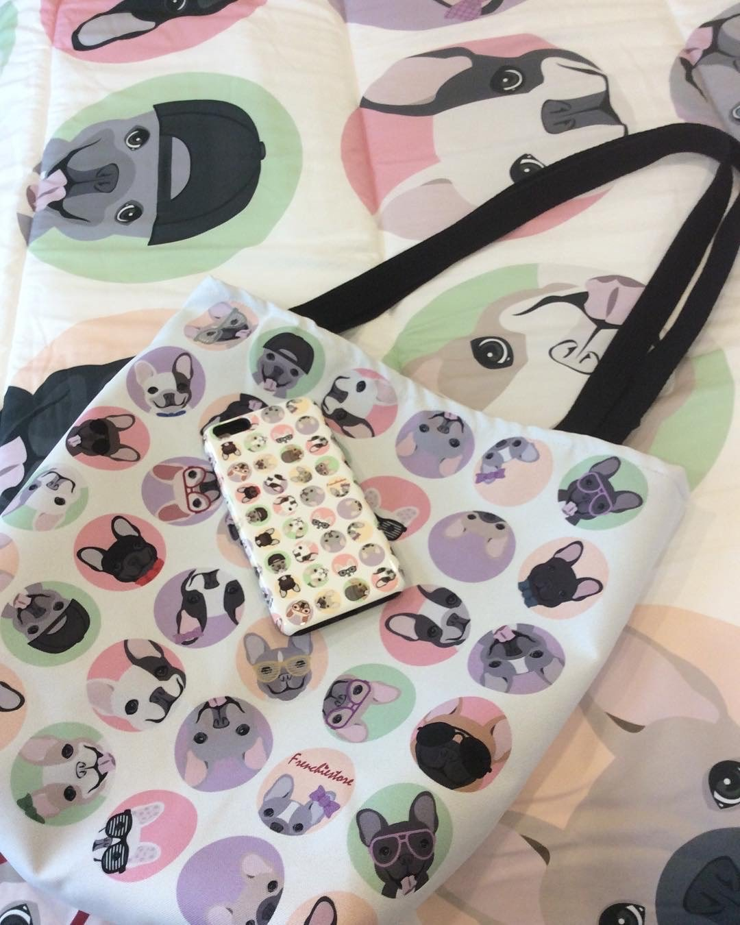French Bulldogs on White Polka Dots | Frenchiestore Tote bag, Frenchie Dog, French Bulldog pet products