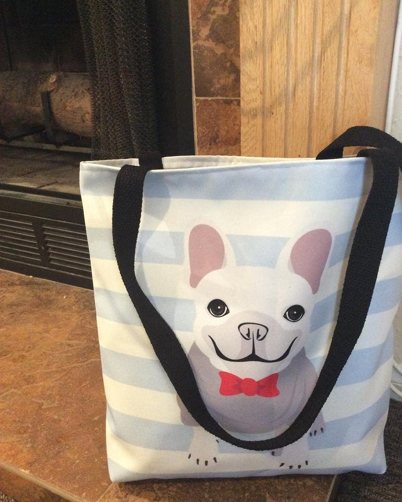 White Male French Bulldog on Baby Blue Stripes | Frenchiestore Tote bag