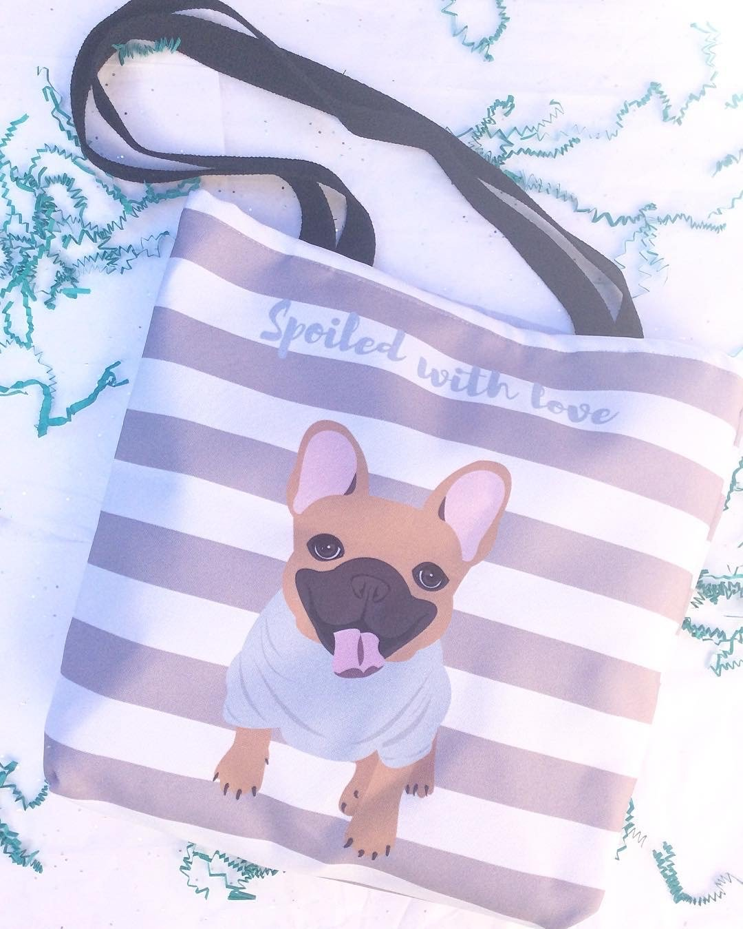 Fawn Male French Bulldog on Gray Stripes | Frenchiestore Tote bag, Frenchie Dog, French Bulldog pet products