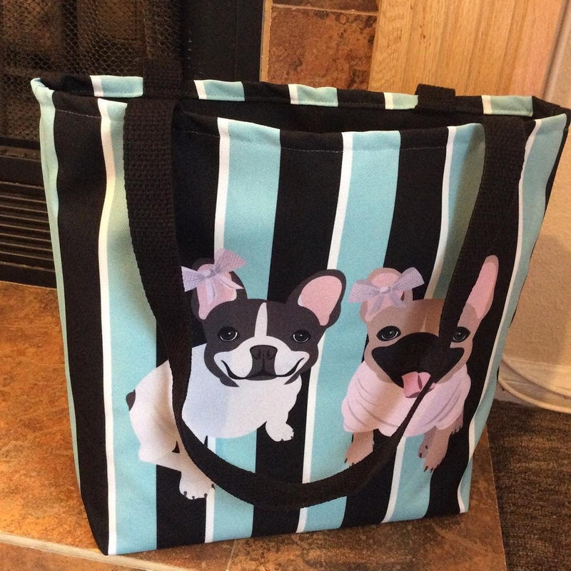 French Bulldogs on Modern Stripes | Frenchiestore Tote bag