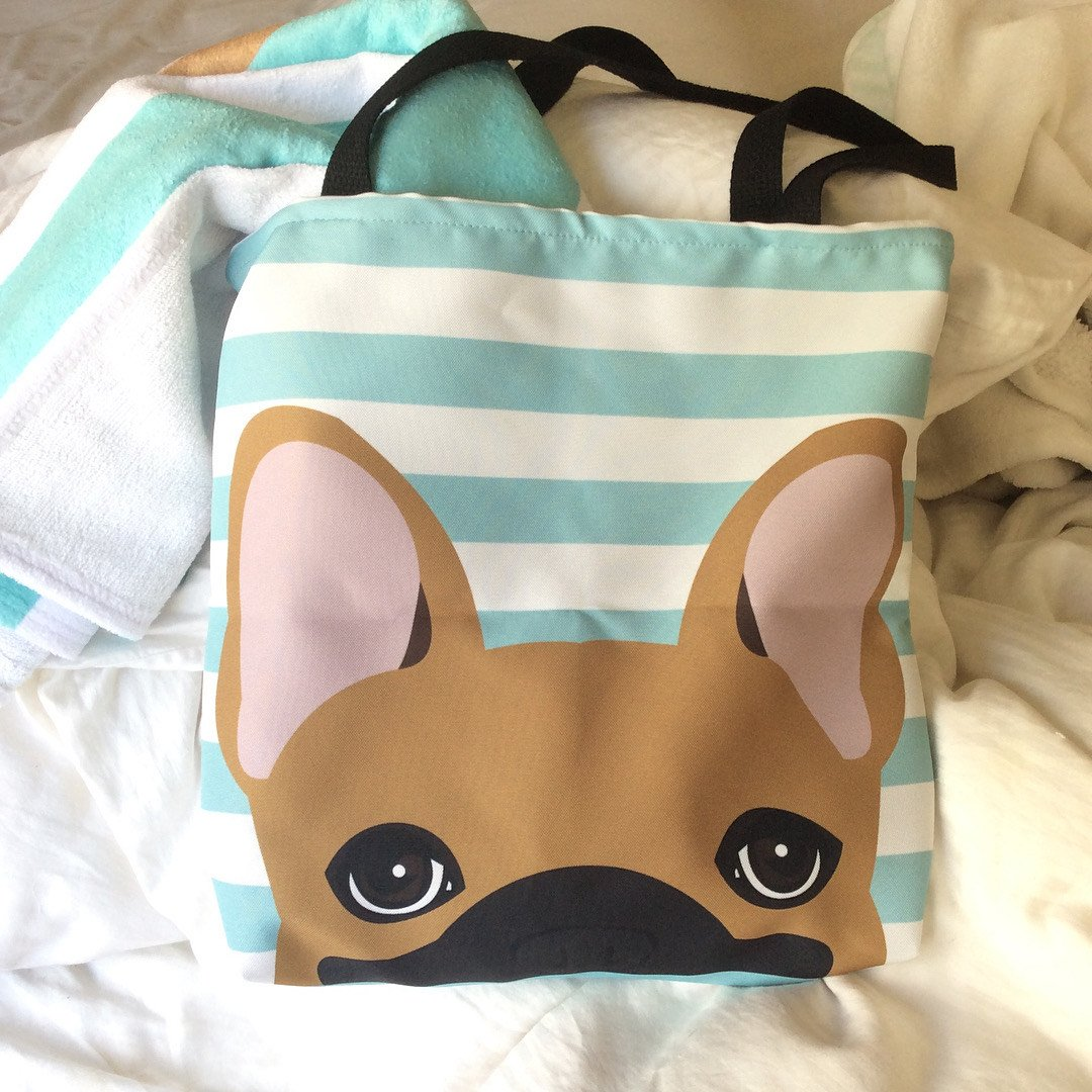 Fawn French Bulldog on Teal Stripes | Frenchiestore Tote bag, Frenchie Dog, French Bulldog pet products