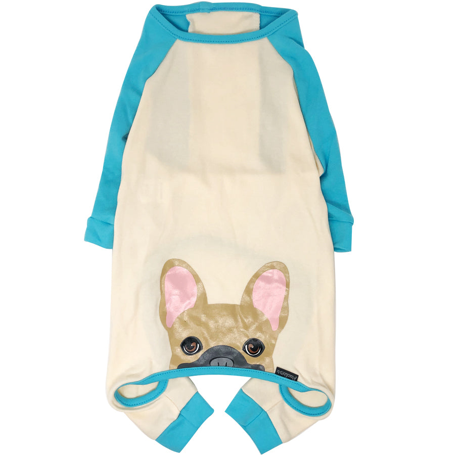 French Bulldog Pajamas in Aqua | Frenchie Clothing | Fawn w Mask Frenchie Dog, Frenchie Dog, French Bulldog pet products