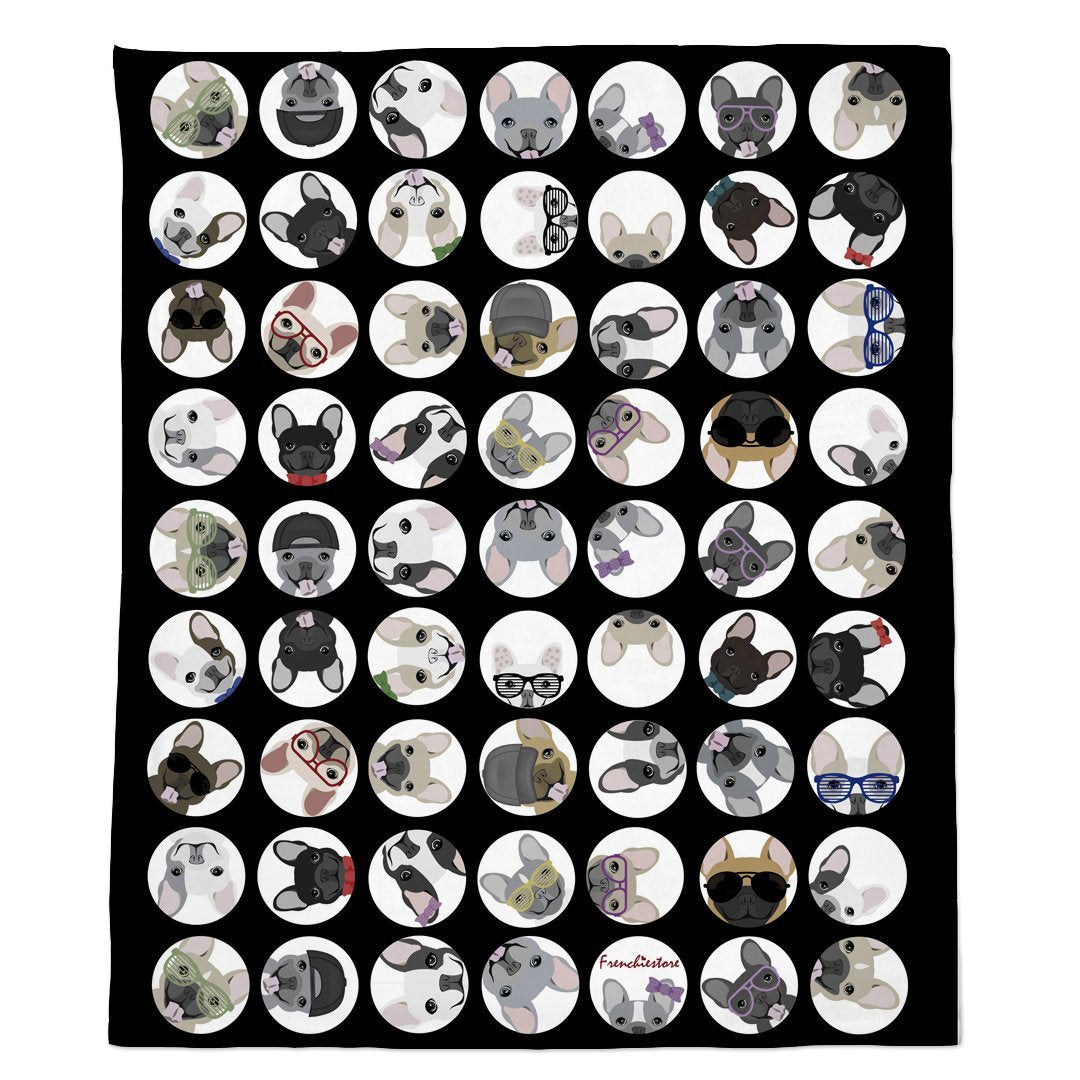 Frenchie Blanket | Frenchiestore | French Bulldogs Black Polka Dots, Frenchie Dog, French Bulldog pet products