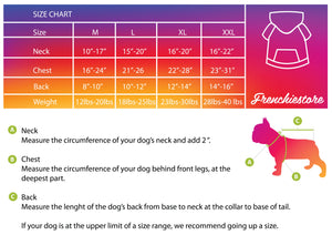 Size chart for frenchiestore organic dog hoodie