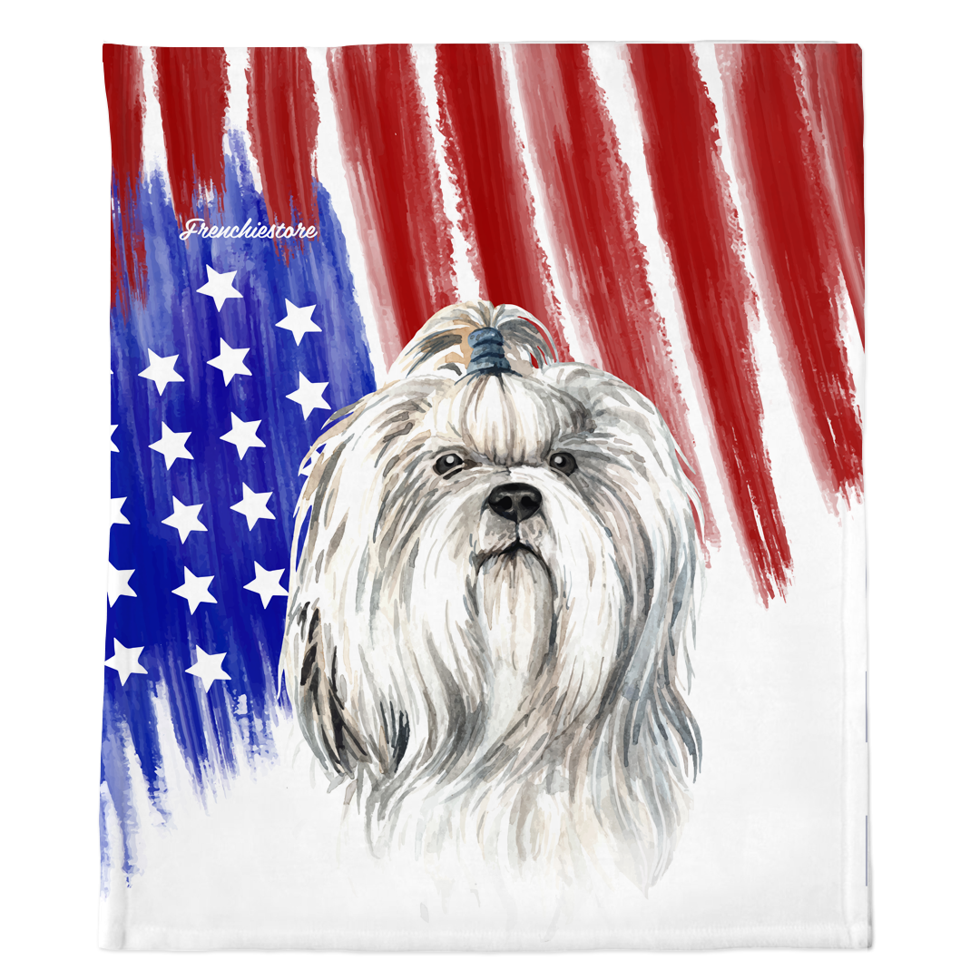 Patriotic Shih Tzu Blanket | American dog in Watercolors