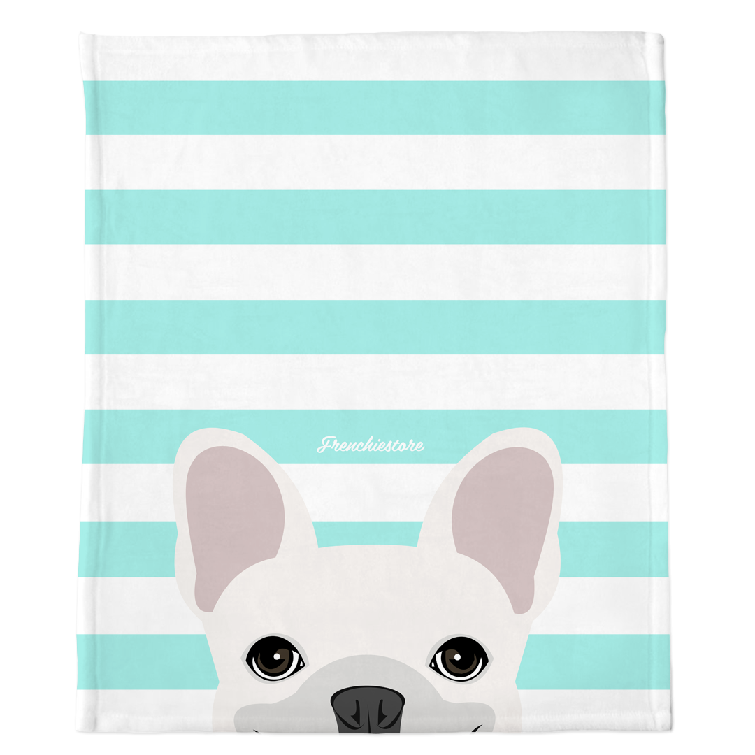White French Bulldog on Aqua Stripes | Frenchie Blanket, Frenchie Dog, French Bulldog pet products