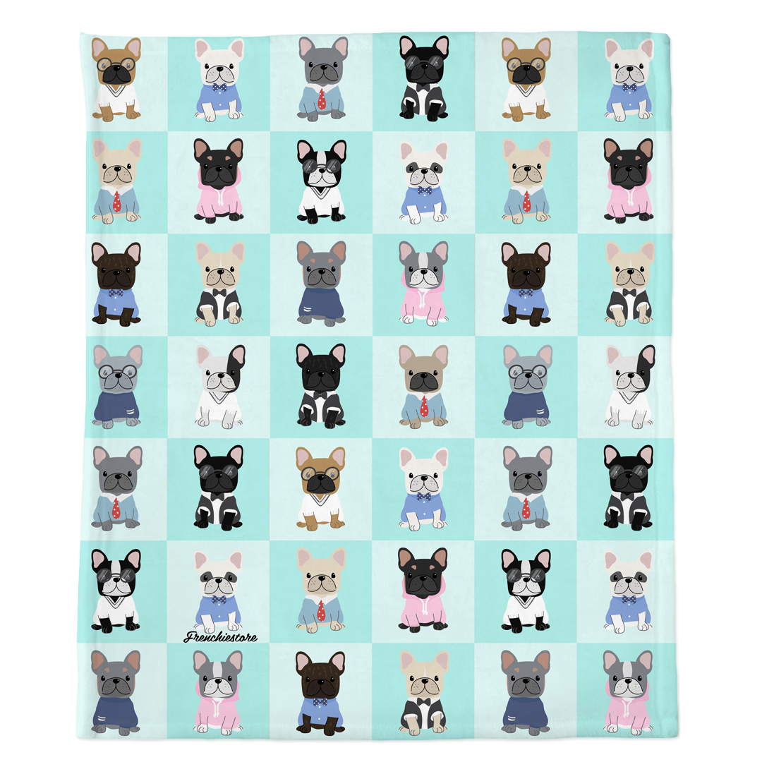Frenchie Blanket | Preppy French Bulldogs on Aqua