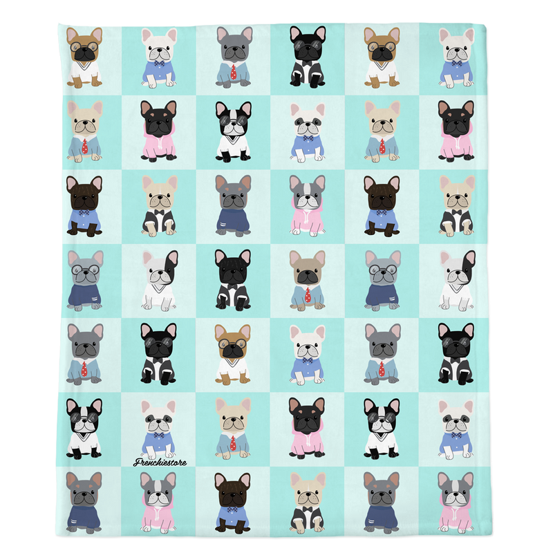 Couverture Frenchie | Bulldogs français preppy sur Aqua