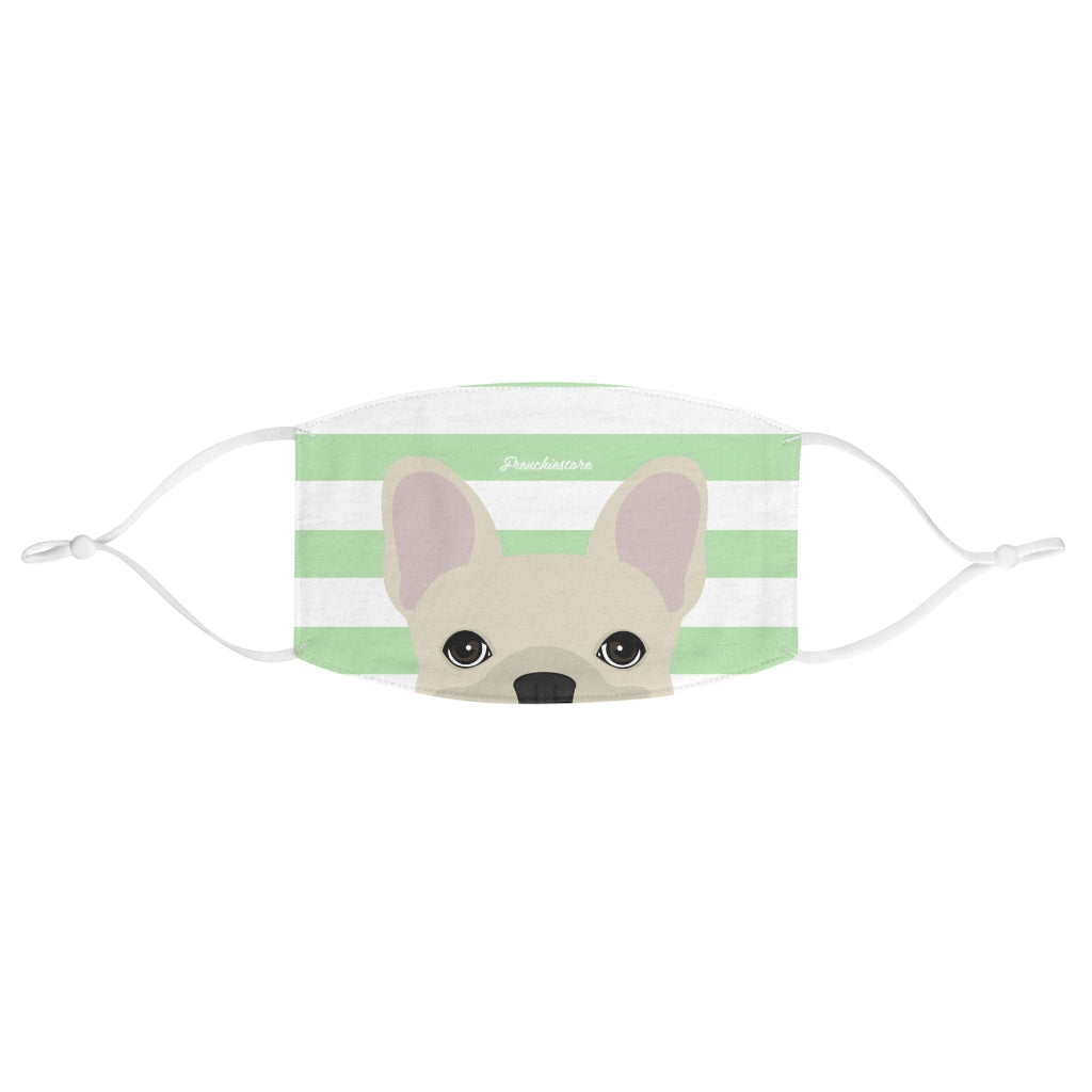 Cream Frenchie on Mint Stripes Reusable Face Mask, Frenchie Dog, French Bulldog pet products