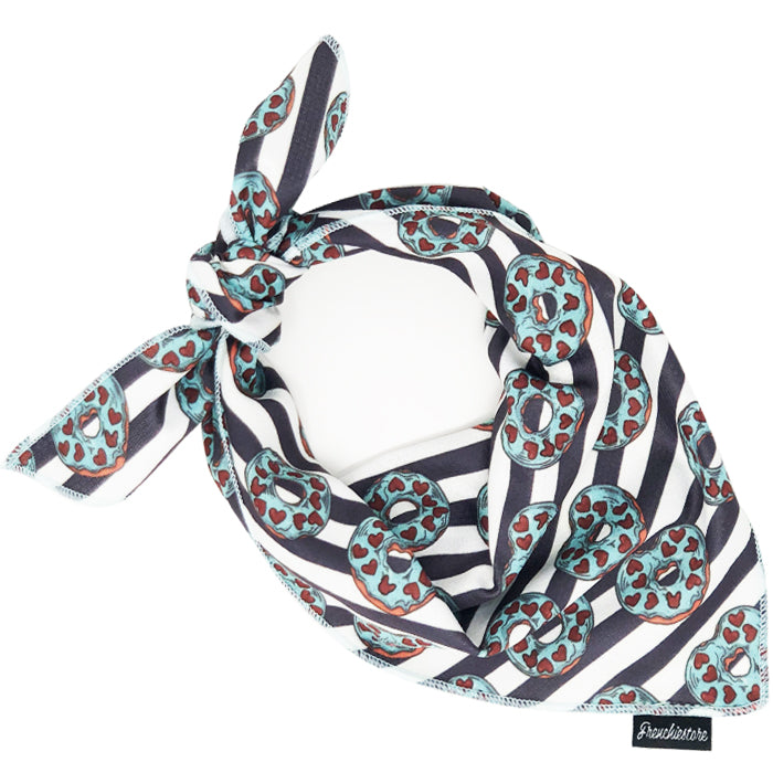 Frenchiestore Dog Cooling Bandana |  Frenchie Love in Teal
