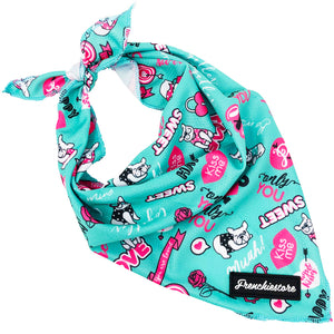 Frenchiestore dog cooling bandana Frenchie Love