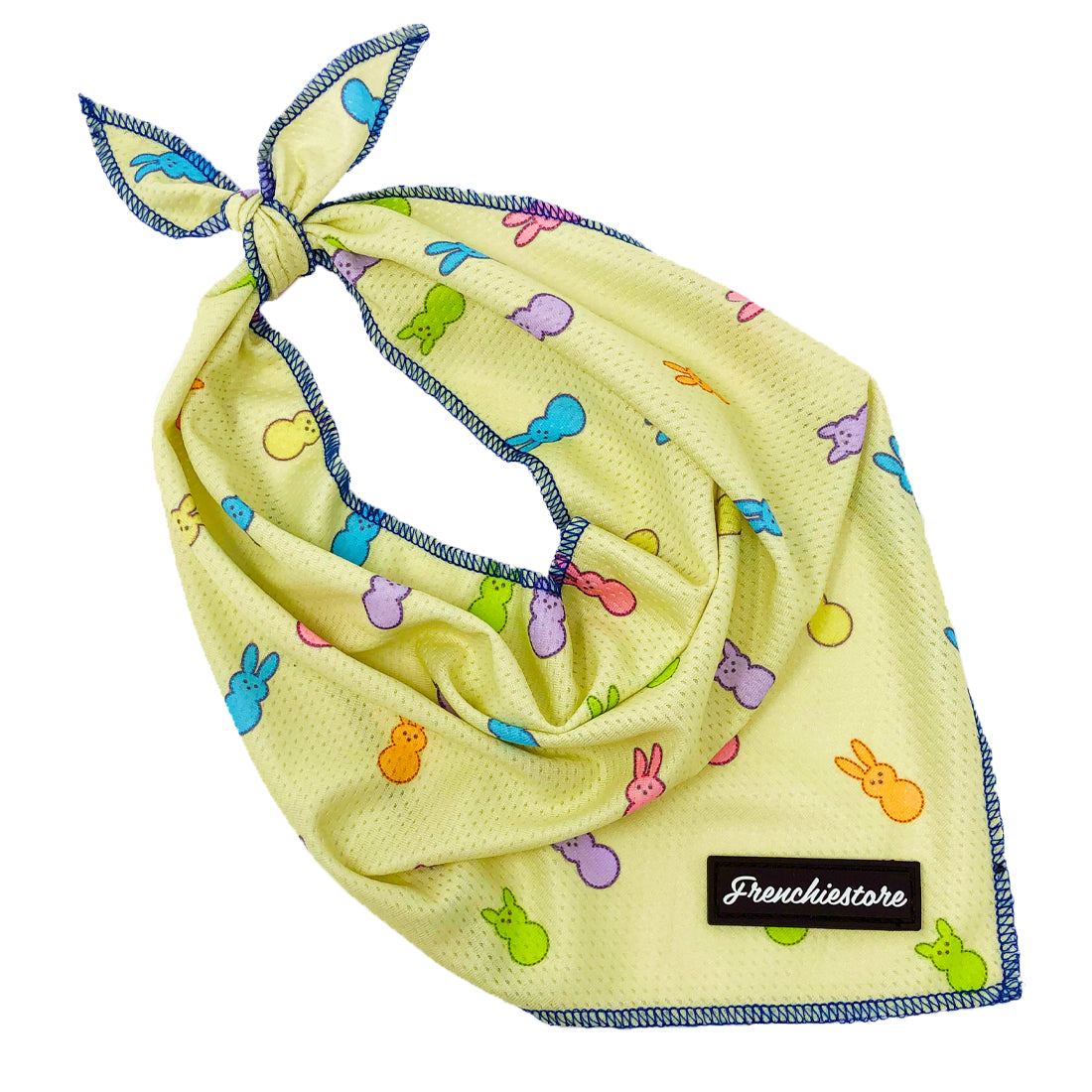 Frenchiestore Dog Cooling Bandana yellow easter bandana with Frenchie peeps