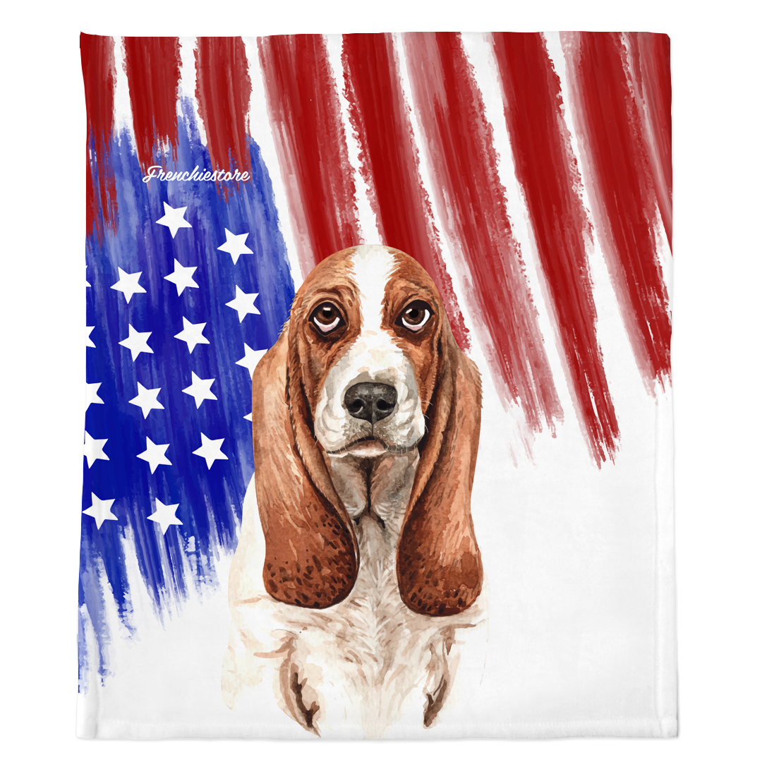 Patriotic Basset Hound Blanket | American dog in Watercolors