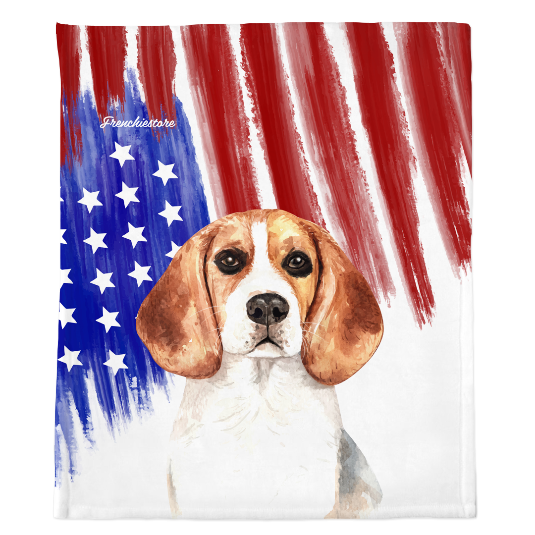 Patriotic Beagle Blanket | American dog in Watercolors