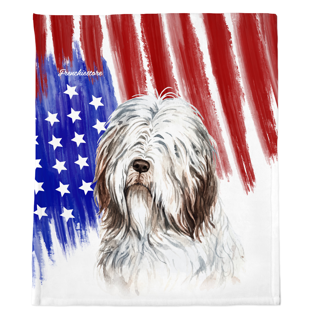 Patriotic Bearded Collie Blanket | American dog in Watercolors