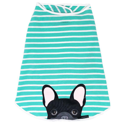 Camicia Frenchie | Frenchiestore | Bulldog francese nero in acquamarina