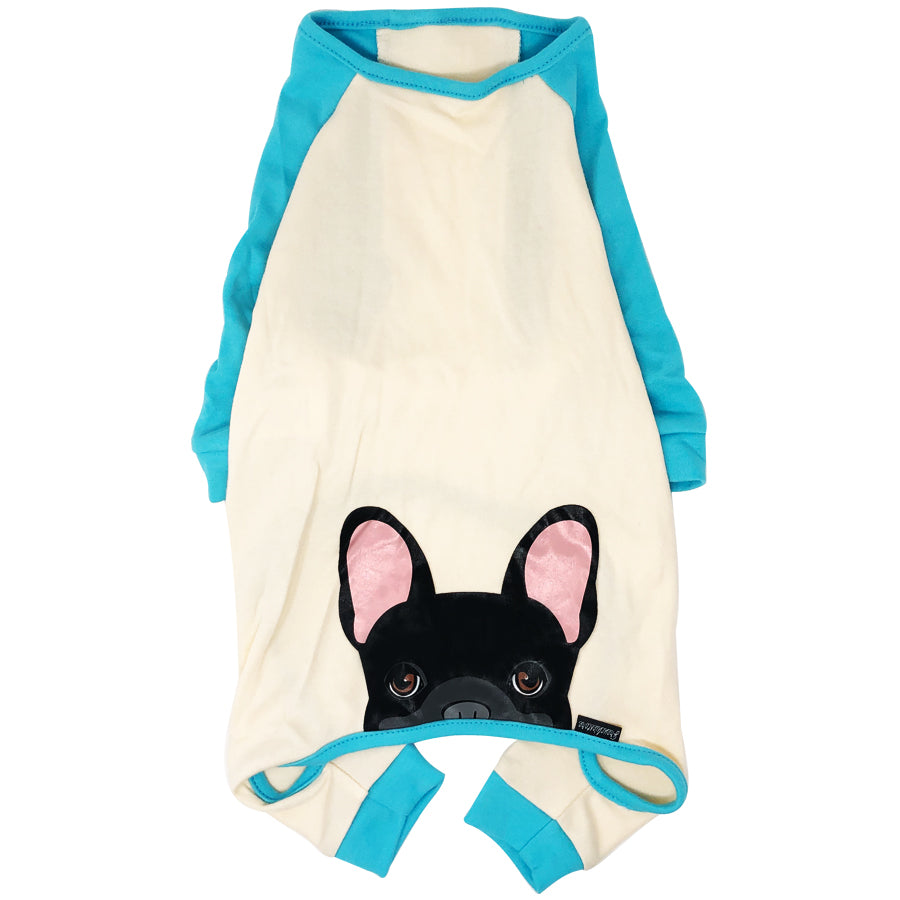 French Bulldog Pajamas in Aqua | Frenchie Clothing | Black Frenchie Dog