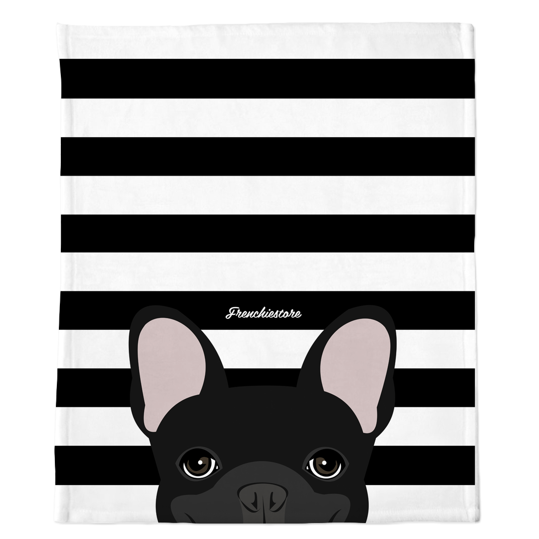 Black French Bulldog on Black Stripes | Frenchie Blanket