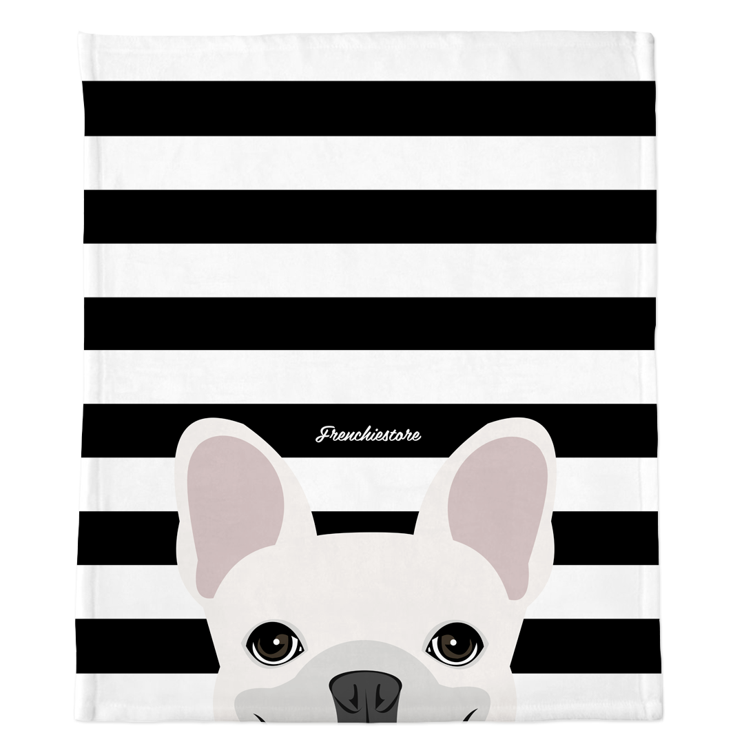 White French Bulldog on Black Stripes | Frenchie Blanket