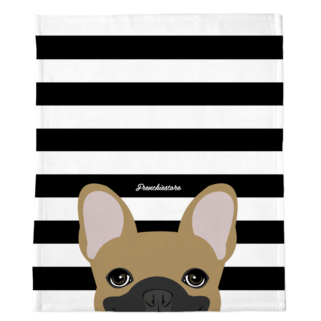 Masked Fawn French Bulldog on Black Stripes | Frenchie Blanket, Frenchie Dog, French Bulldog pet products