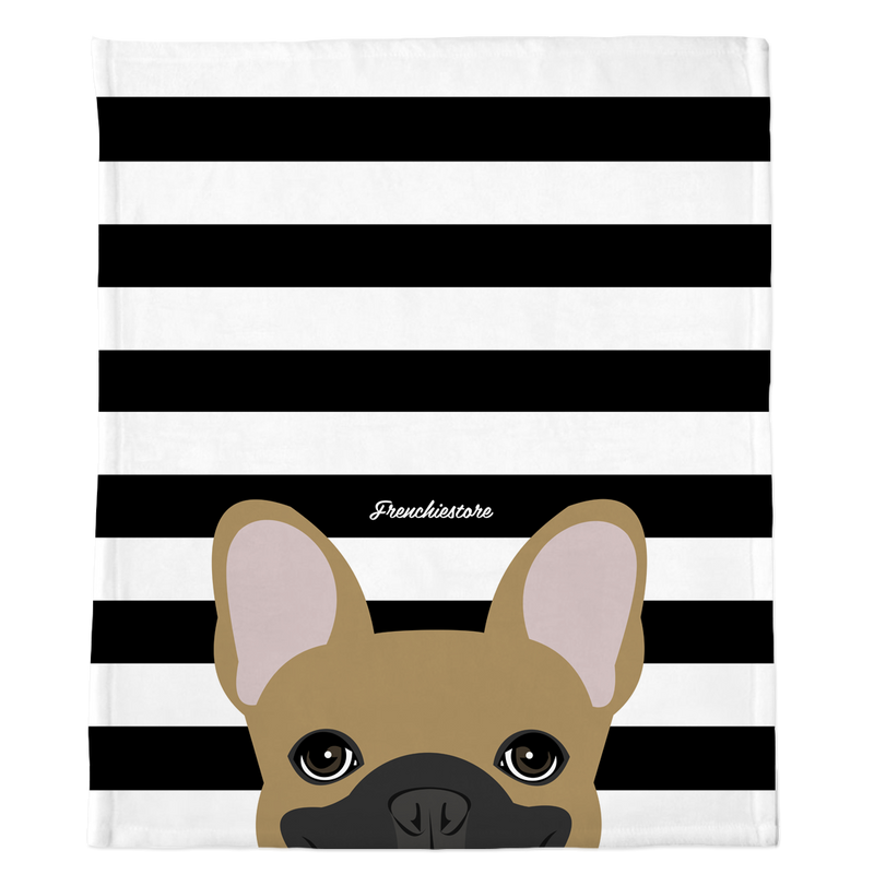 Masked Fawn French Bulldog on Black Stripes | Frenchie Blanket