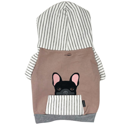 Sweat à capuche Bulldog français en gris | Vêtements Frenchie | Chien Frenchie noir