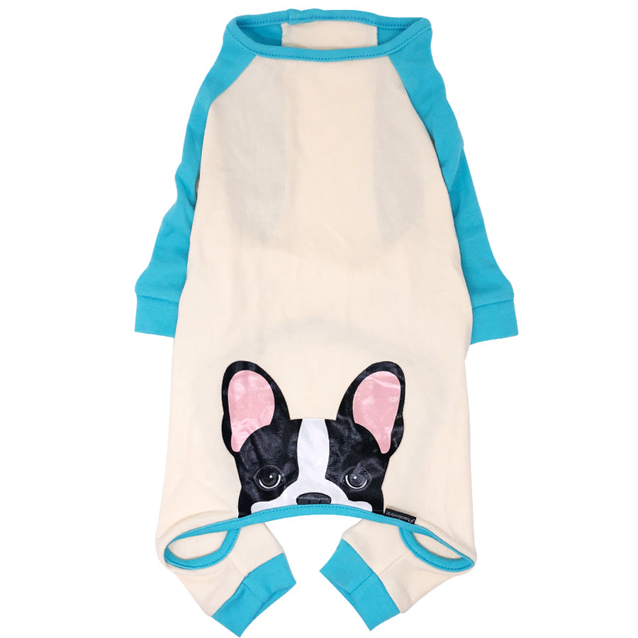 French Bulldog Pajamas in Aqua | Frenchie Clothing | Black Pied Frenchie Dog