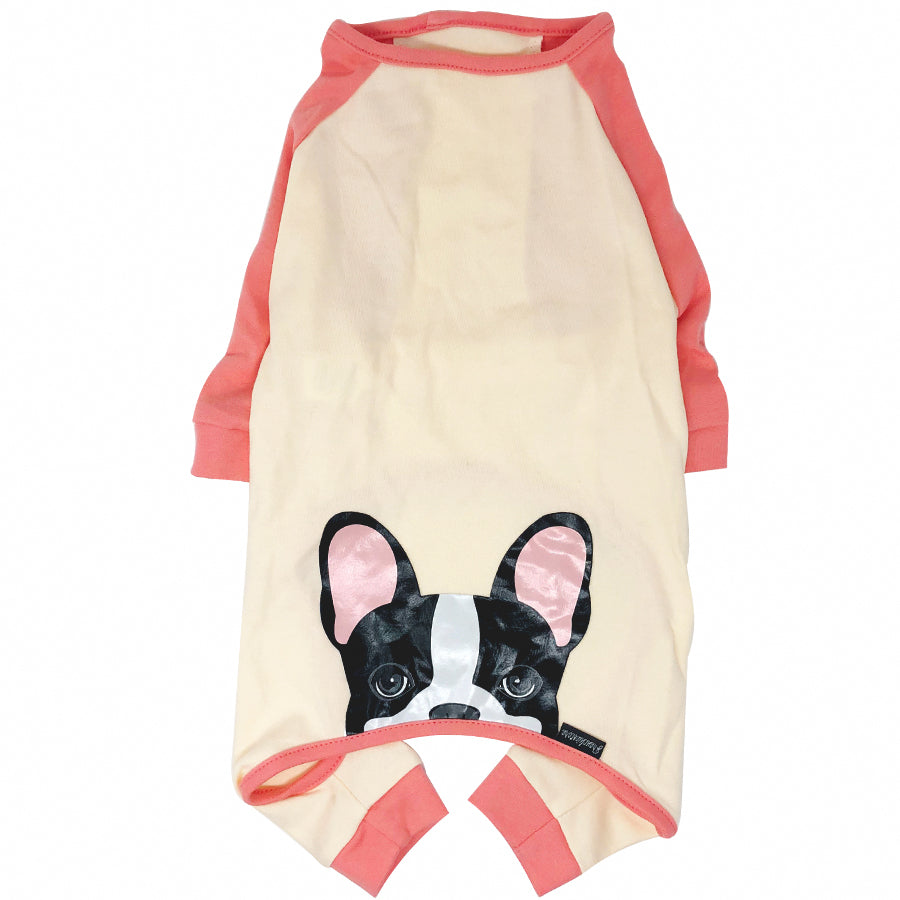 French Bulldog Pajamas in Coral | Frenchie Clothing | Black Pied Frenchie Dog