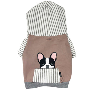 French Bulldog Hoodie in Gray | Frenchie Clothing | Black Pied Frenchie dog